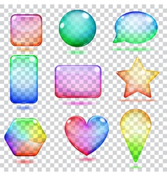 Transparent multicolored glass shapes vector