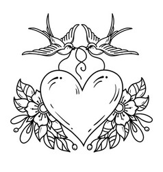 Two swallows carry heart decorated with flowers vector