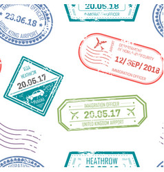Visa and passport stamps upon departure and vector