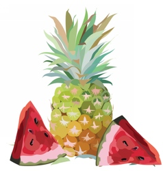 Watercolor Pineapple and Watermelon vector
