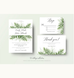 wedding invitation rsvp thank you cards floral set vector image