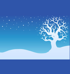 winter tree with snow 1 vector image