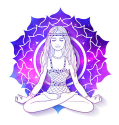 Woman meditating on sahasrara chakra background vector