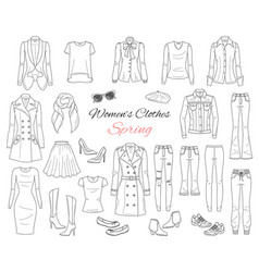 Women clothes collection spring outfit vector