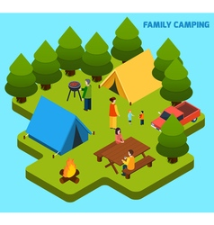 Camping And Travel Isometric Composition vector image vector image