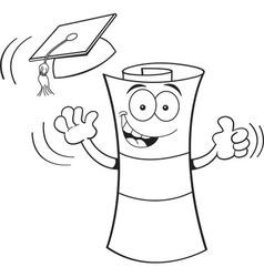 Cartoon diploma giving thumbs up vector image vector image
