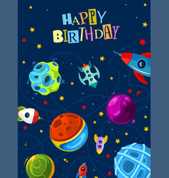 happy birthday gift card with cute planets and vector image vector image