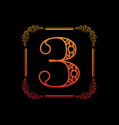 number 3 with ornament vector image