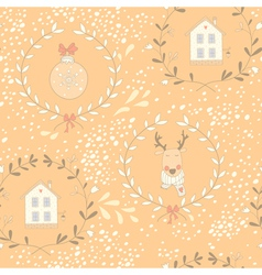 Reindeer wreath seamless pattern vector image