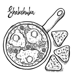 Shakshuka is israeli cuisine hand draw vector