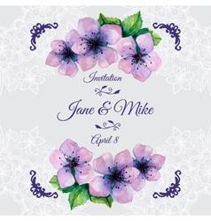Watercolor elegant wedding invitation with vector image