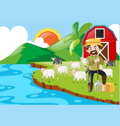 farmer and sheeps in the farm vector image