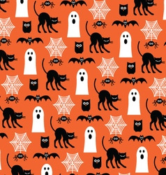 halloween ghosts and black cats vector image vector image