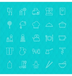 Kitchenware and Cooking Tools Line Icons Set over vector image vector image