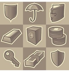 Monochrome security icons vector image vector image