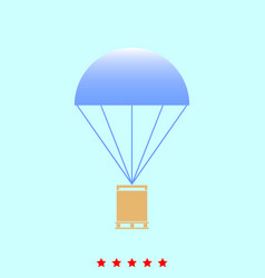 parachute with cargo set it is color icon vector image vector image