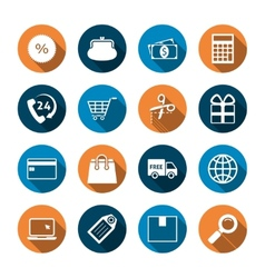 Shopping Icons with Shadow vector image vector image