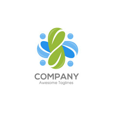 social health logo and abstract organic leaf logo vector image vector image