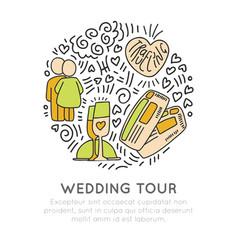 wedding travel tour hand draw cartoon icon vector image