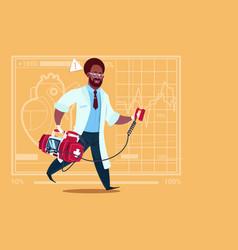 african american doctor running with defibrillator vector image vector image