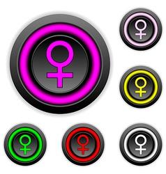 Gender female symbol buttons set vector image