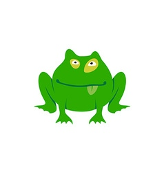 Green toad simple cartoon Freaky frog logo vector image