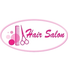 hair salon signboard with scissors and comb vector image vector image