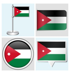 Jordan flag - sticker button label flagstaff vector image vector image