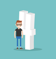 number four concept young smiling nerd standing vector image vector image
