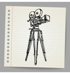 Old doodle hand-drawn camera vector image vector image