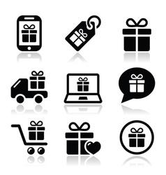 Present shopping icons set vector