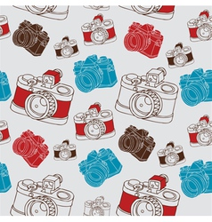 Vintage seamless pattern with camera vector image