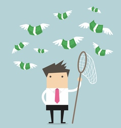 Concept businessman trying to catch money fly vector image vector image