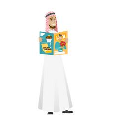 Successful muslim businessman reading magazine vector