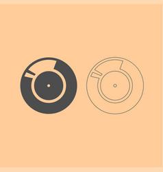 vinyl record retro sound carrier dark grey set vector image