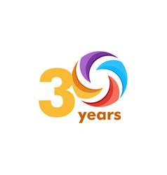 30 year anniversary rainbow template design vector