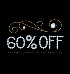 60 percent off banner with diamond jewelry letters vector