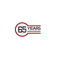 65 years anniversary with circle outline red vector
