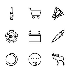 9 isolated icons vector image