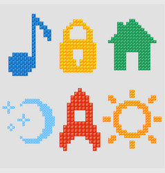 a set of pixel icons for your individual design vector image
