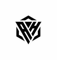 Ah logo monogram with triangle and hexagon modern vector