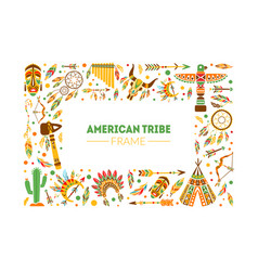 american tribe frame native ethnic symbols border vector image