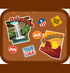 Arkansas arizona travel stickers vector