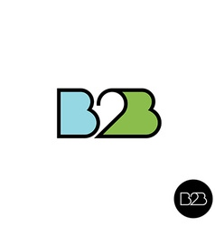 B2B letters logo Linear style vector image