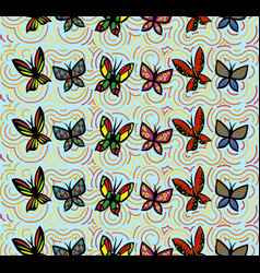 background seamless with butterflies and rainbow vector image