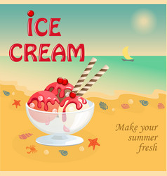 banner with summer ice cream on the beach vector image