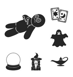 Black and white magic black icons in set vector