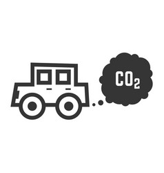 black outline car emits carbon dioxide vector image