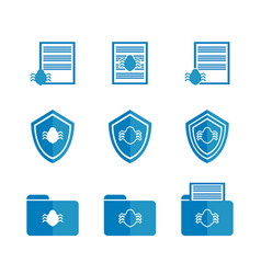 Blue icons for protecting documents of vector
