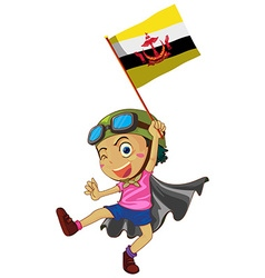 Boy holding flag of Brunei vector